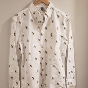 Mickey Mouse Pattern Button Down Shirt